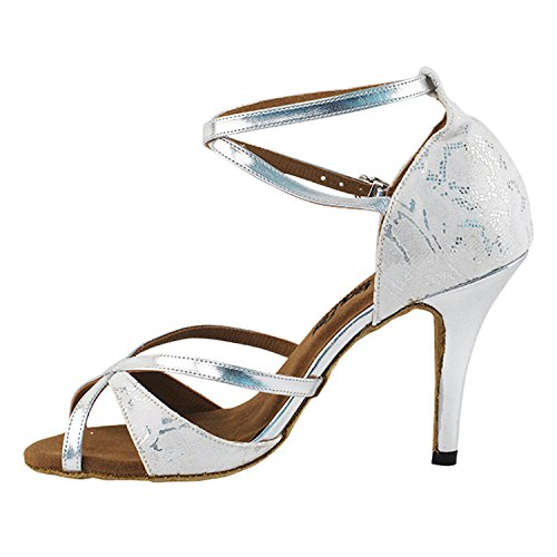 50 Shades Of White Dance Shoes Collection, Comfort Evening Dress Wedding Pumps, Ballroom Shoes For Latin, Tango, Salsa, Swing, Theather Art by 50 Shades (2.5, 3 & 3.5 Heels) 2829- White & Silver, Stiletto Heel