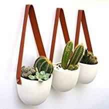 Kimisty Set 3 Hanging Succulent Wall Planters Pot | White Ceramic Planter with Faux Leather Strap | Decor as Cactus, Succulents, Baby Plants, Flower Pots, Vase, Container | Window & Herb Planter with