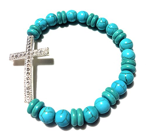 NickAngelo's Stretch Bracelet with Christian Cross Pendant Jewelry Vintage Look Versatile Design Created Turquoise