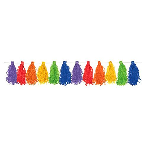 amscan Radiant Rainbow Paper Tassel Garland, 10', Multicolor ()