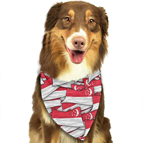 FRTSFLEE Dog Bandana Singapore Flag Wave Collage Scarves Accessories Decoration for Pet Cats and Puppies -