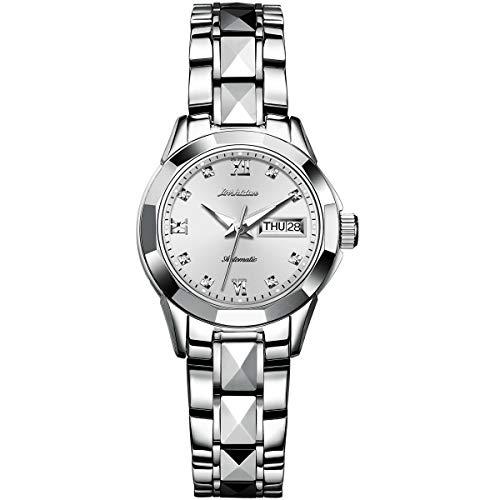 - JSDUN Women's 8813 Gold Tungsten Steel Two-Tone Automatic Watch with Diamond Shape Link Bracelet