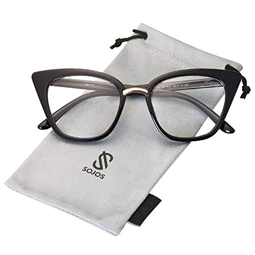 (SOJOS Cat Eye Brand Designer Clear Lens Glasses Fashion Eyewear Eyeglasses SJ2052 with Black Frame/Clear Lens)