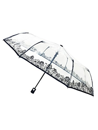 SMATI Clear Folding Umbrella - Compact - Automatic Open - Sturdy - Flowers (lace) - French Design