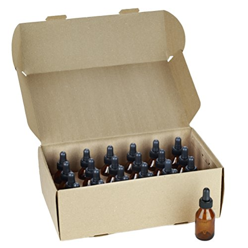 NES Natural | Empty 1 Oz Amber Glass Boston Round Bottles With Eye Dropper 24 Pack | Durable & Refillable Bottle For Essential Oils, Liquids & Aromatherapy | Protect Oils From Harmful Sun Rays