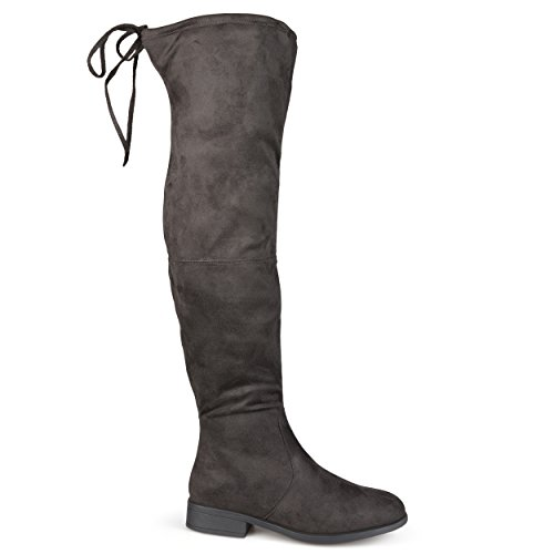 (Brinley Co Women's SPUR Over The Knee Boot, Grey, 7 Regular)