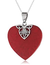 Sterling Silver Heart-Shaped Bali Inspired Pendant Necklace , 18""