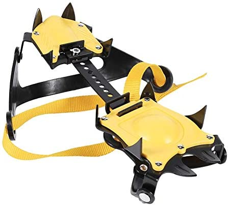 Bnineteenteam 1 Pair of 10-Teeth Crampons Strap Binding Type Ice Climbing Claws for Walking on The Snow or Ice