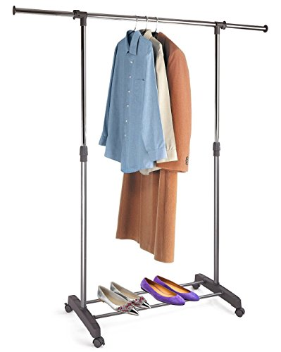 PROAID Single Portable Clothes Rack Rolling Clothing Hanging Rod Rack Adjustable Garment Rack with Wheels, Gray & Chrome