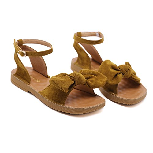 Massage Bohemia The Bow Sandals Summer of Beach Version yellow Bottom JUWOJIA Soft Sandals Wind Women's AInq1dw