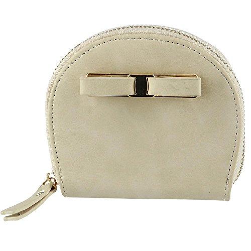 CTM Women's Curve Compact Zip-Around Wallet, Ivory