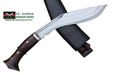 "Genuine Full Tang Hand Forged Blade Khukri Knife - 12"" 3 Fullers Farmer Bushcraft Working Khukuri - Handmade Kukri By Egkh in Nepal Zombie Apocalypse Chopper from Ex Gurkha Khukuri House"