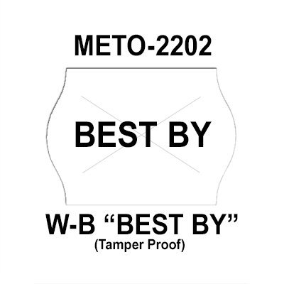 189,000 Meto compatible 2202 ''Best By'' White General Purpose Labels to fit the Meto 13.22, Meto 15.22 Price Guns. Full Case + includes 12 ink rollers. by Infinity Labels