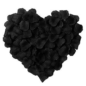 HLLbuy 2000 Pieces Black Artificial Flower Petals Silk Rose Petals for Wedding Party and Home Decor 66