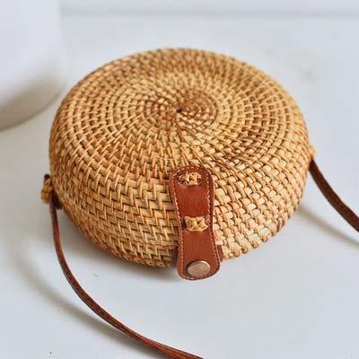 - Round Straw Beach Bag Vintage Handmade Woven Shoulder Bag Raffia Circle Rattan Bags Bohemian Summer Vacation Casual Bags (yuanhu)
