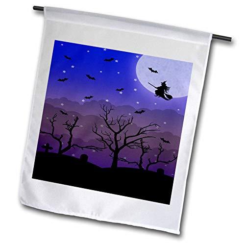 3dRose Janna Salak Designs Halloween - Halloween Graveyard and Witch - 12 x 18 inch Garden Flag -