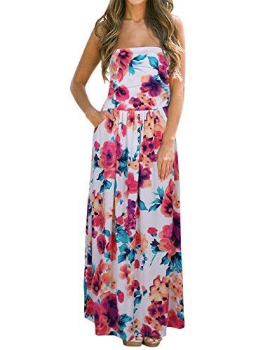 Liebeye Women Floral Sleeveless Empire Waist Strapless Beach Maxi Dress Colorful S