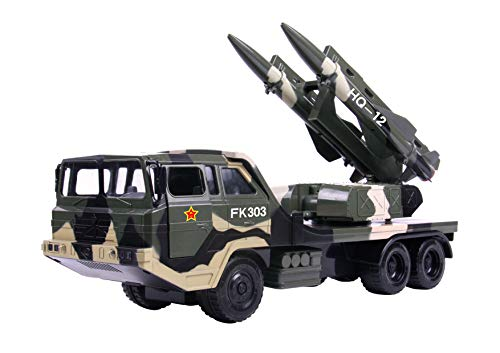 (Big Daddy Military Missile Transport Army Truck Anti Aircraft Twin Missile Jungle Camouflage Toy Truck)