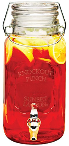 Circleware Knockout Punch Glass Beverage Drink Dispenser with Locking Glass Hermetic Lid, 1 Gallon, Clear (Milk 1 Lid Pitcher Gallon With Glass)