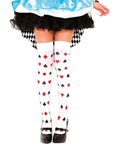 Alice in Wonderland Card Pattern Stocking Thigh