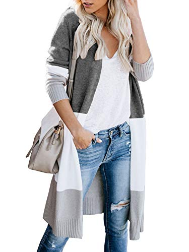 Tutorutor Womens Long Cardigan Sweaters Oversized Striped Open Front Colorblock Loose Knit Fall Kimono Duster Coats
