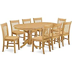 East West Furniture VANO9-OAK-W 9 Piece Kitchen Table and 8 Dinette Chairs Set