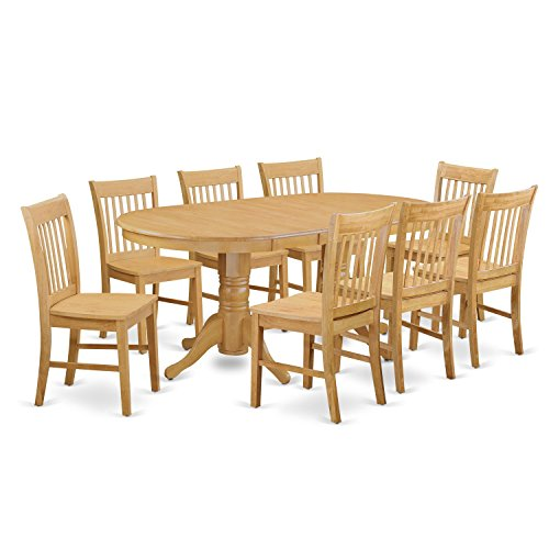 East West Furniture VANO9-OAK-W 9 Piece Kitchen Table and...