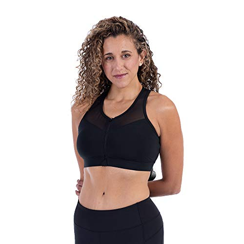 Handful The Closer, Womens Front Closure Sports Bra with Front Zip, Racerback Bra, Booya Black, ()