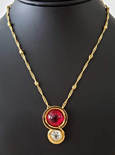 Red Faberge Glass, Clear Crystal, Trendy Gold filled Necklace with a 2.5