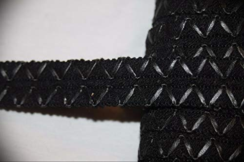 1 Yard Black Double Row Pleather Gimp Zig Zag Sewing Craft Assorted Pattern Ribbon Lace Trim 3/4