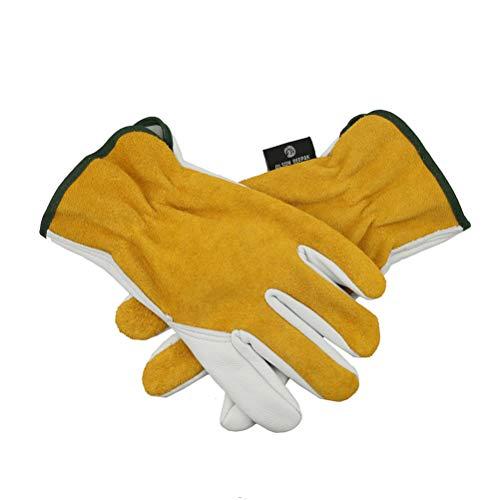OLSON DEEPAK Leather Work Gloves, Genuine Cowhide Construction Glove with Elastic Wrist for Men & Women - Good Grip & Flexible for Heavy Duty/Truck Driving/Warehouse/Gardening/Farm(Medium)