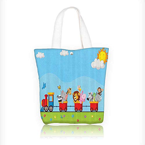 o Animal Train With Birth Background Sun And Clouds Li Elephant reusable canvas bag bulk for grocery,shopping W11xH11xD3 INCH ()