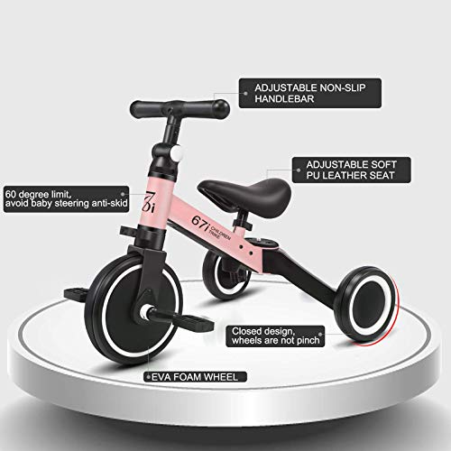 67i Tricycles for 2 Year Olds Toddler Tricycle 3 in 1 Tricycles Kids Trikes for Toddler Bike 3 Wheel Convert 2 Wheel with Removable Pedal and Adjustable Seat for 1-2 Years (Pink)