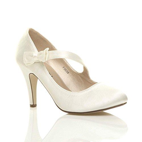 Ajvani - Zapatos de vestir para mujer, color Blanco, talla 40