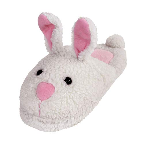 Classic Bunny Slippers - Plush Rabbit Animal Slippers - (Large) White -