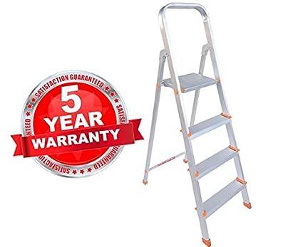Plutomax 3 Step Ladder For Home Use | Aluminium | Ultra Stable | Folding Ladder | Ladder Stool | Ladder Shelf