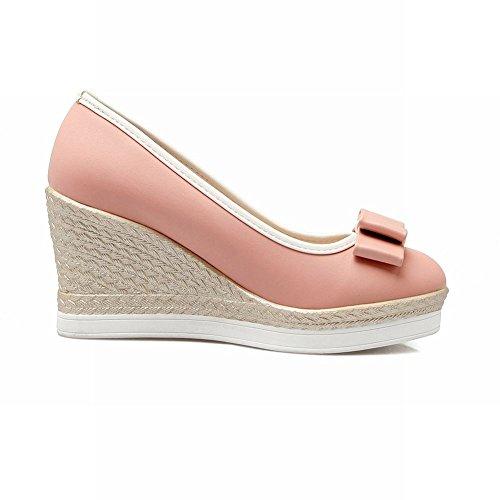 Wedge Bow On Slip Mee Shoes Pink Shoes Women's Sweet Court Heel pxwqxR4FB