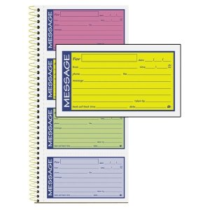 Adamsamp;reg; - Wirebound Telephone Message Book, Two-Part Carbonless, 200 Forms - Sold As 1 Each - Check-off boxes for message type and lined space for specific message.