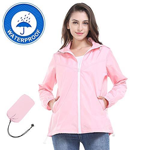 ZEALOTPOWER Windbreaker Jacket for Women Waterproof Travel Packable Raincoat with Hood Lightweight Light Pink Medium
