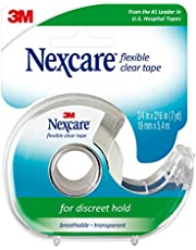 Nexcare Flexible Clear Plastic First-Aid Tape with Dispenser, 19mm x 6.4m
