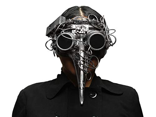Metallic Steampunk Plague Doctor LED Light Up Mask ()