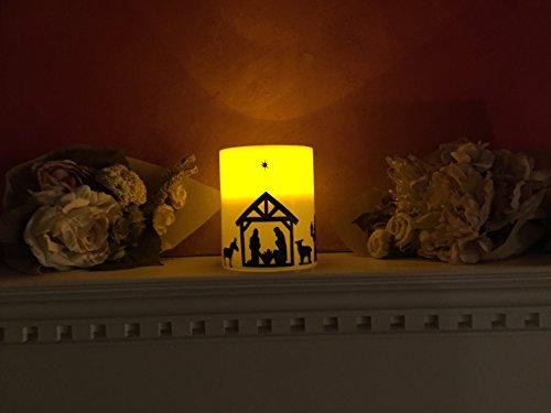 Nativity Scene on LED Pillar Candle