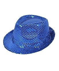 Solid Royal Blue Color Sequins Fedora Hat