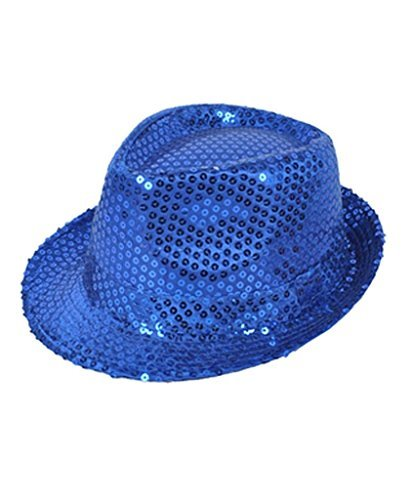 Buckletown Sequined Fedora Hat (Blue)]()