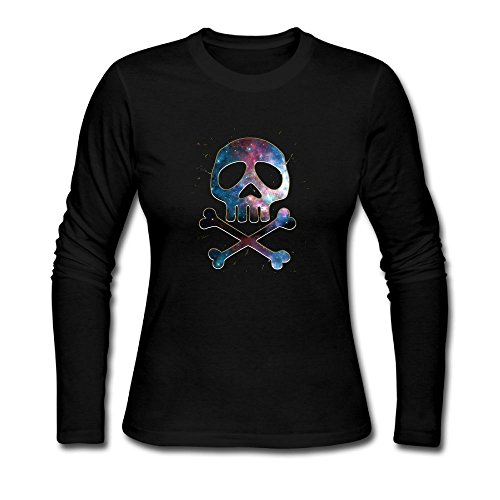 Space Pirate Skull Crossbones Womens Long Sleeve Cotton Cre.