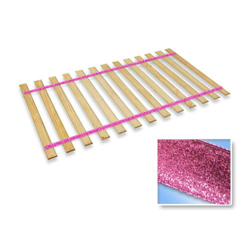 The Furniture Cove Twin Size Attached Bed Slats - Bunkie Boards (Glitter Pink Straps)