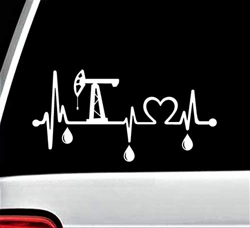 Oilfield Pumpjack Oil Drops Heartbeat Lifeline Decal Sticker for Car Window 8.0 Inch BG 228