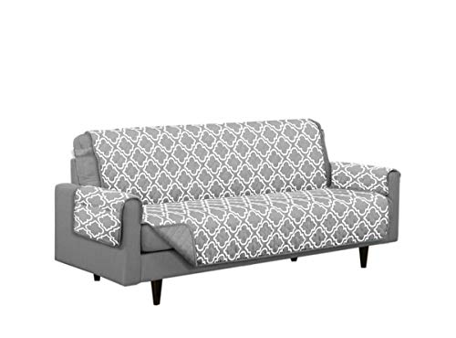 Austin Reversible Solid/Print Microfiber Furniture Protector With Strap & Side Pockets (Sofa, Grey)