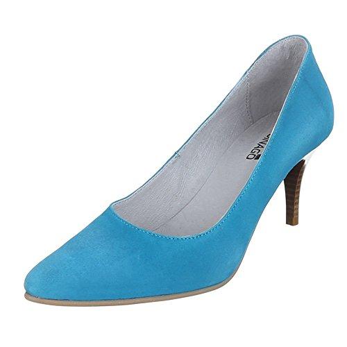 Ital-Design - Zapatos de Tacón Mujer Azul - azul claro