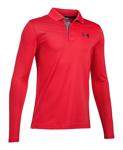 Under Armour Boys' Graphic Long Sleeve Polo, Red (600), Youth Small (Red Youth Graphic)